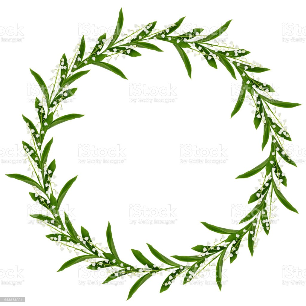 Round frame with lily of the valley flowers stock photo more round frame with lily of the valley flowers royalty free stock photo izmirmasajfo