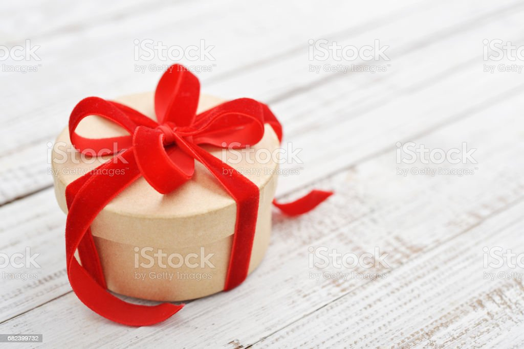 Round gift box royalty-free stock photo
