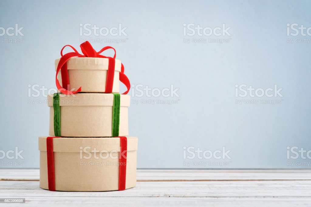 Round gift boxes royalty-free stock photo