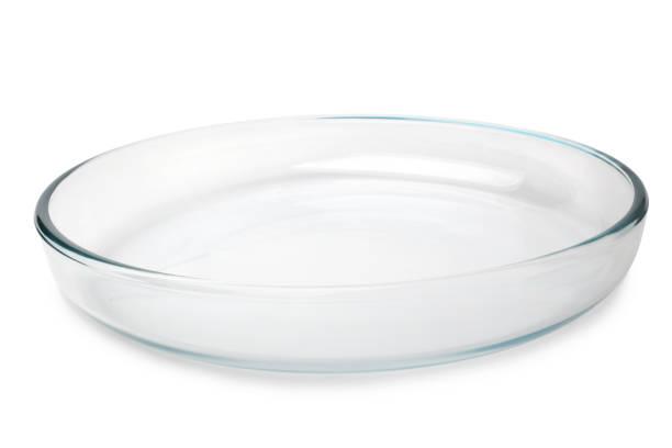 Round glass baking tray stock photo