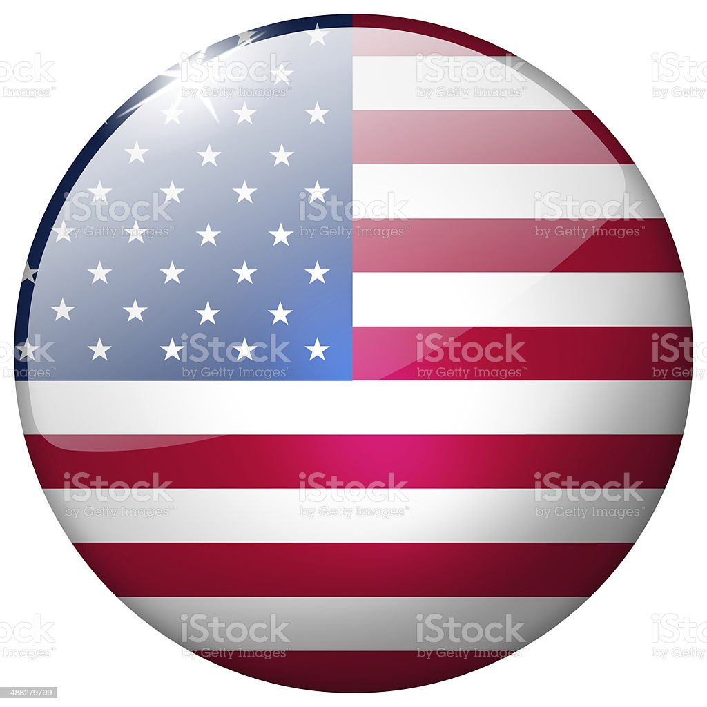USA Round Glass Button stock photo