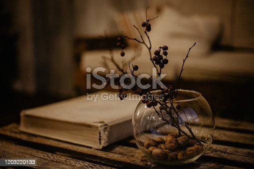 istock round glass vase with decorative branches with berries 1203220133