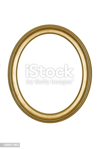Picture frame gold oval in smooth finish, new and contemporary, isolated on white.