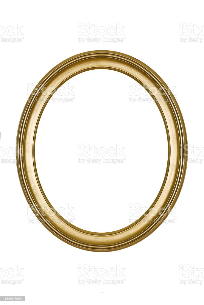 A round, gold picture frame isolated on white stock photo