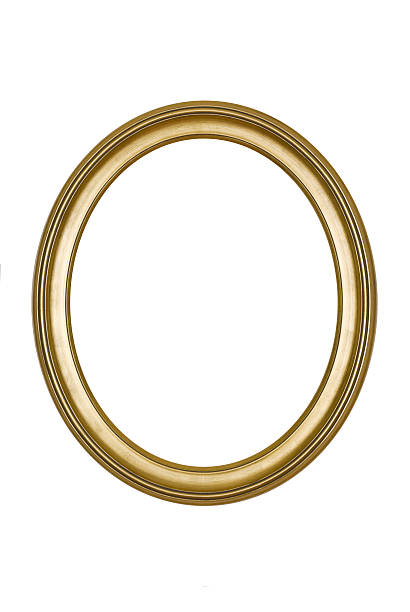 A round, gold picture frame isolated on white Picture frame gold oval in smooth finish, new and contemporary, isolated on white.  fine art portrait stock pictures, royalty-free photos & images