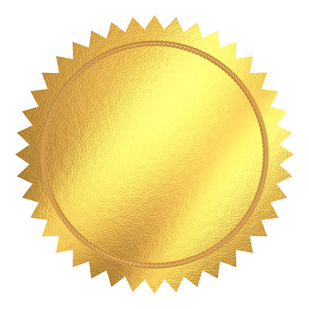 Round gold seal with pointed edges Gold seal. Isolated with clipping path. insignia stock pictures, royalty-free photos & images
