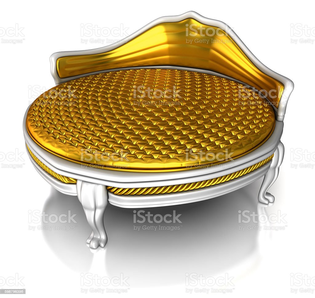 Round golden bed stock photo