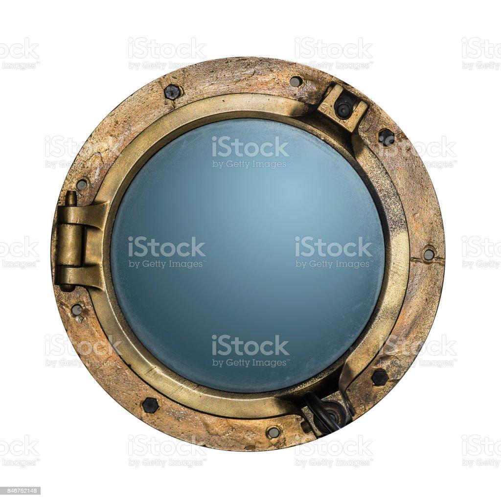 Round golden boat porthole window isolated on white stock photo