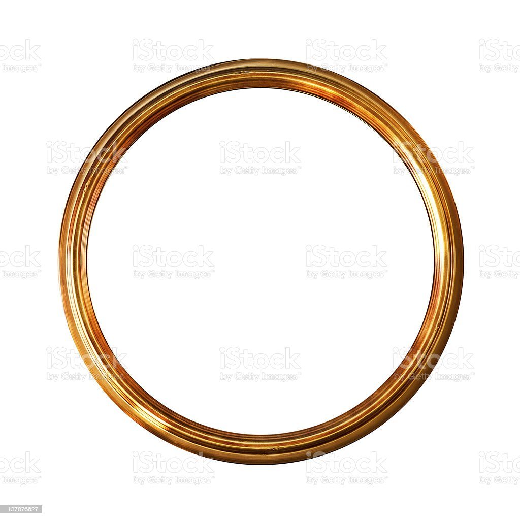 Round golden old picture frame,  isolated on white stock photo
