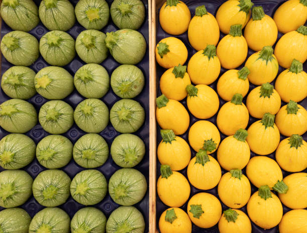 Round green and yellow zucchini on a market stall stock photo