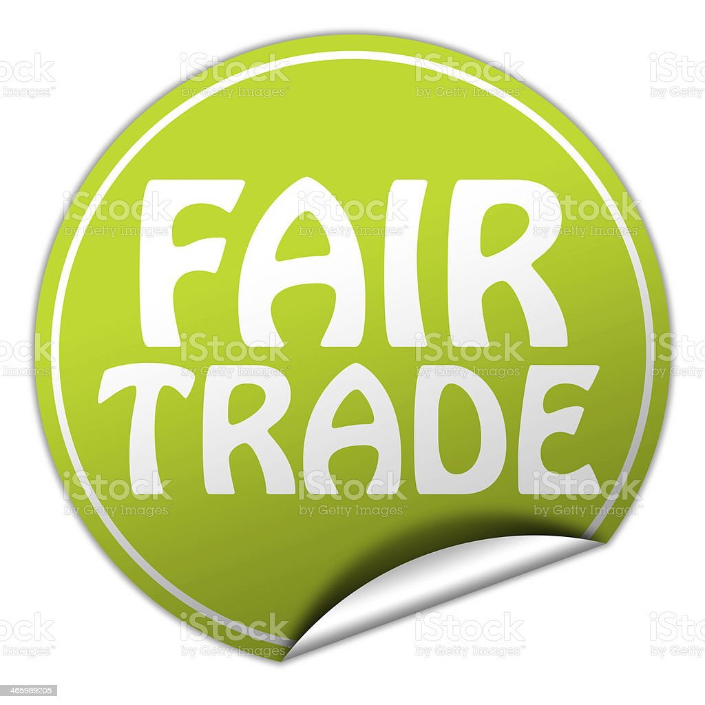 FAIR TRADE round green sticker on white background stock photo