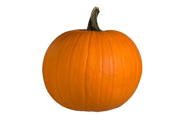 Round Halloween Pumpkin, Perfect – Clipping Path stock photo