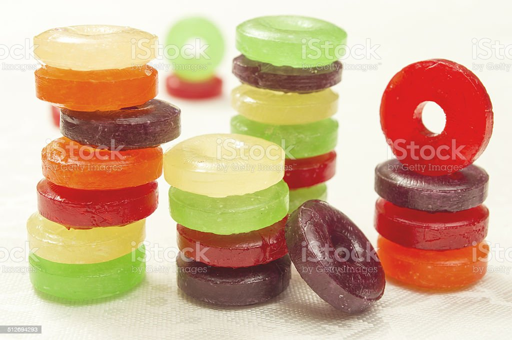 round hard candies stock photo