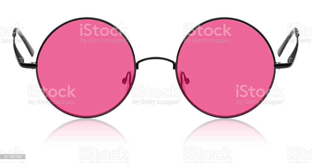 Round hippies des lunettes et de lentilles roses - Photo