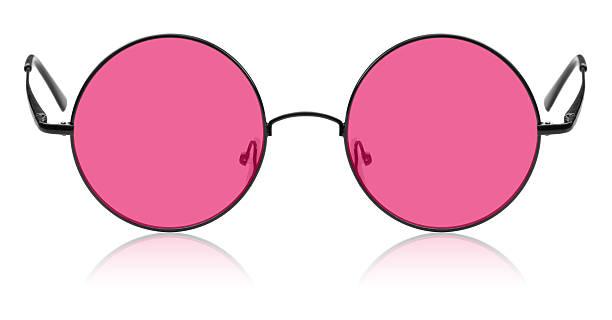 Runde Hippie. Gläser mit rosafarbenem Farbverlauf – Foto
