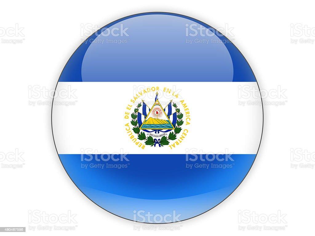Round icon with flag of el salvador stock photo