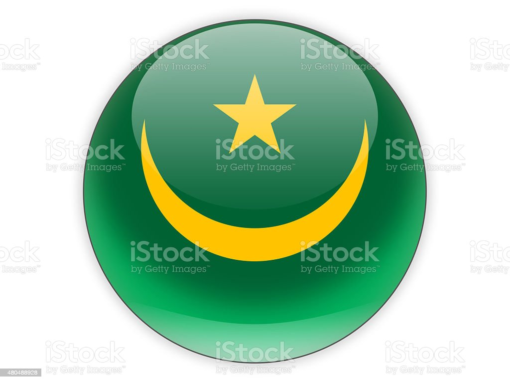 Round icon with flag of mauritania stock photo