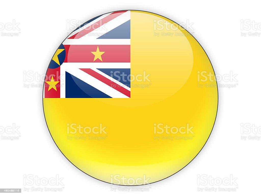 Round icon with flag of niue stock photo