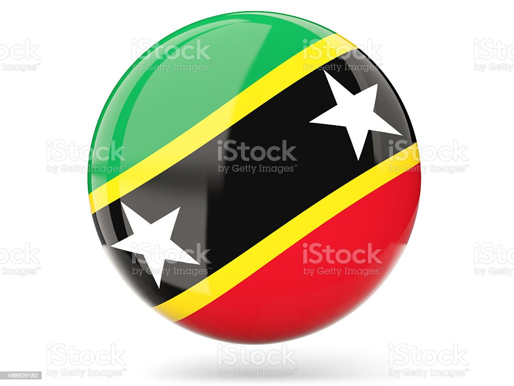 Round icon with flag of saint kitts and nevis stock photo