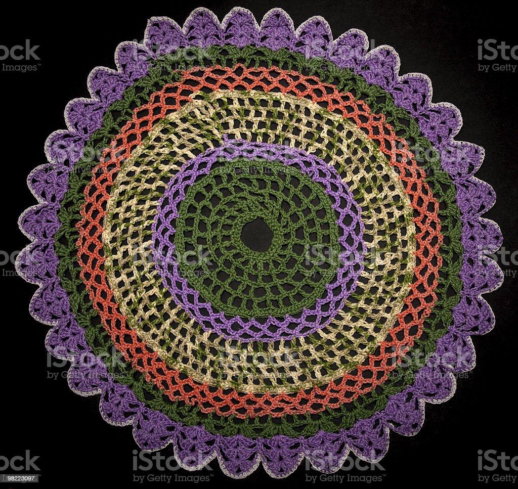 Round knitted napkin royalty-free stock photo