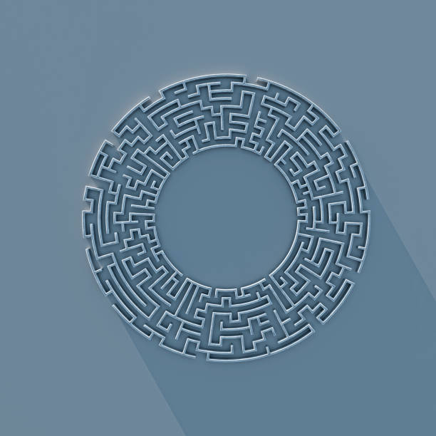 Round labyrinth concept 3d rendering stock photo