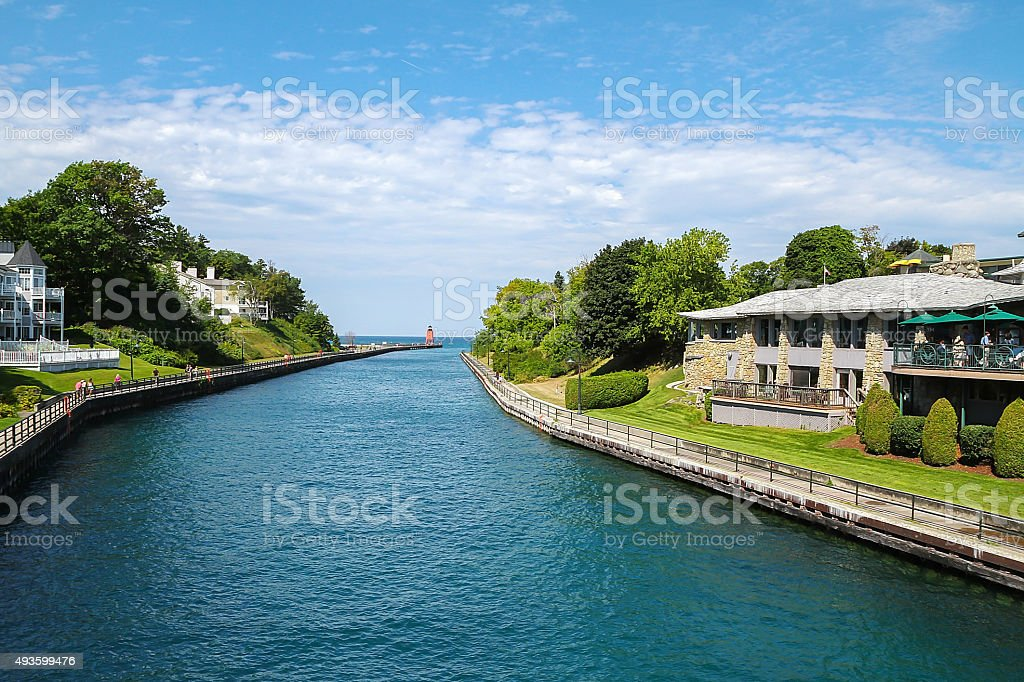 Round Lake Channel seen from the Charlevoix Bridge in Charlevoix stock photo