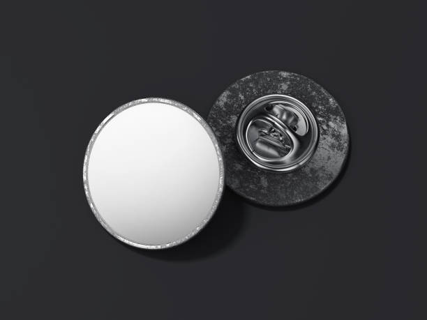round lapel pin with black blank face. 3d rendering - badge logo stock pictures, royalty-free photos & images