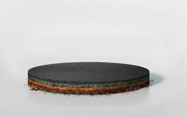 3d round layered soil cross section with asphalt road - asfalto foto e immagini stock