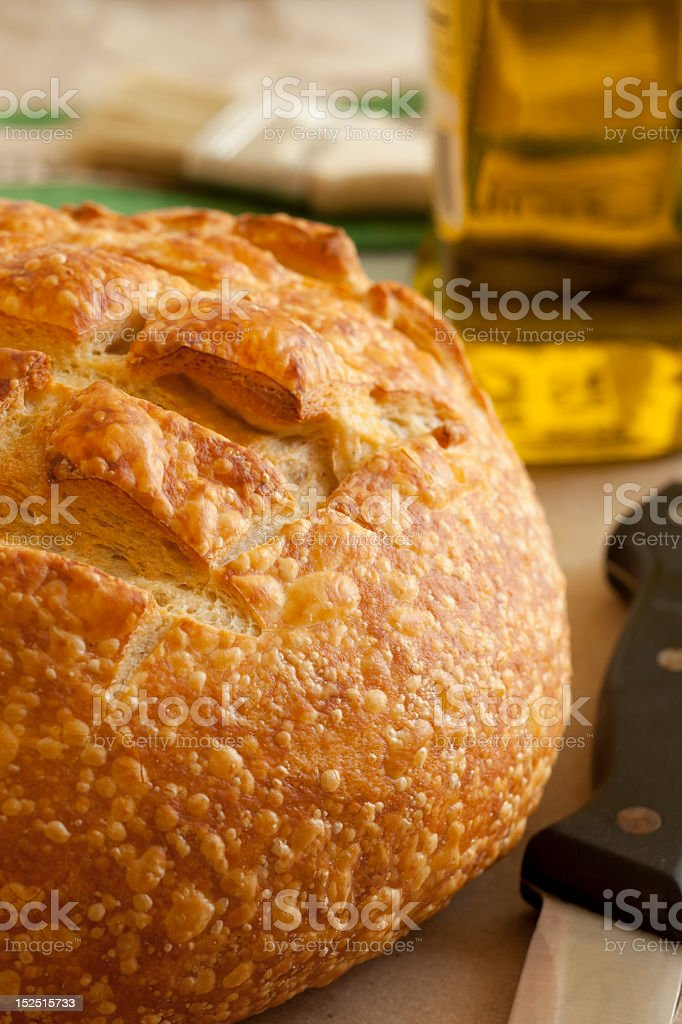 Round loaf of artisan crafted Sourdough Bread stock photo