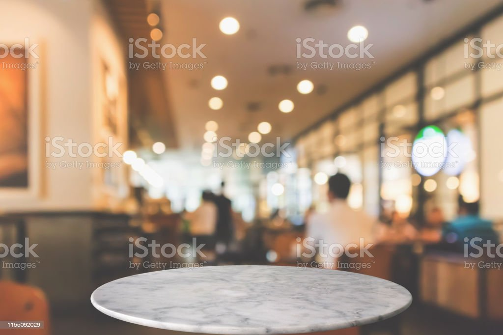 Round Marble Table Top With Cafe Restaurant Bokeh Lights Abstract Background For Montage Product Display Stock Photo Download Image Now Istock