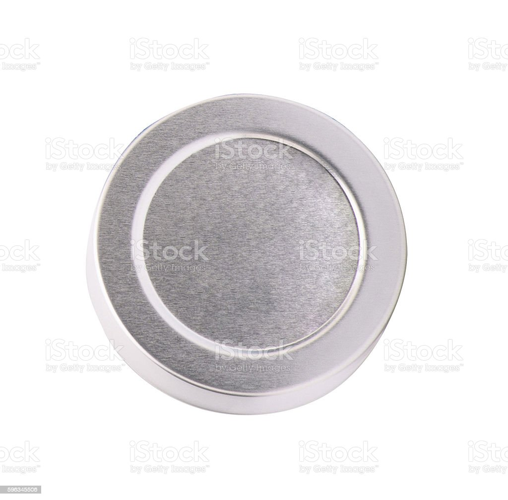round metal box isolated on white royalty-free stock photo