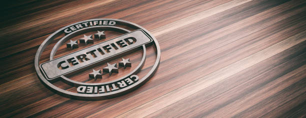round metal sign with text cerified on wooden background, banner, copy space. 3d illustration - certificate stock pictures, royalty-free photos & images