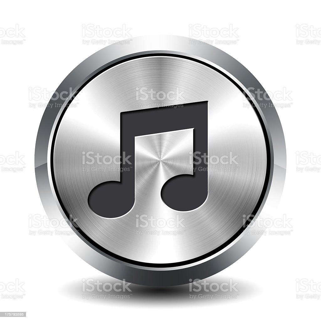 Round metallic button - music royalty-free stock photo