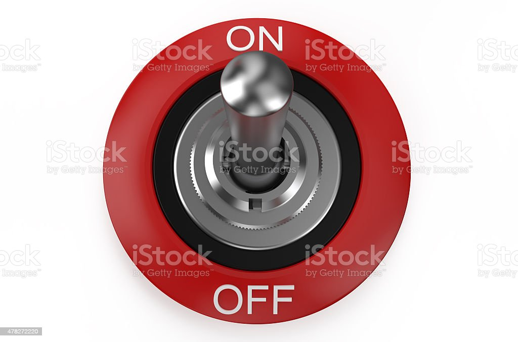 round metallic switch stock photo
