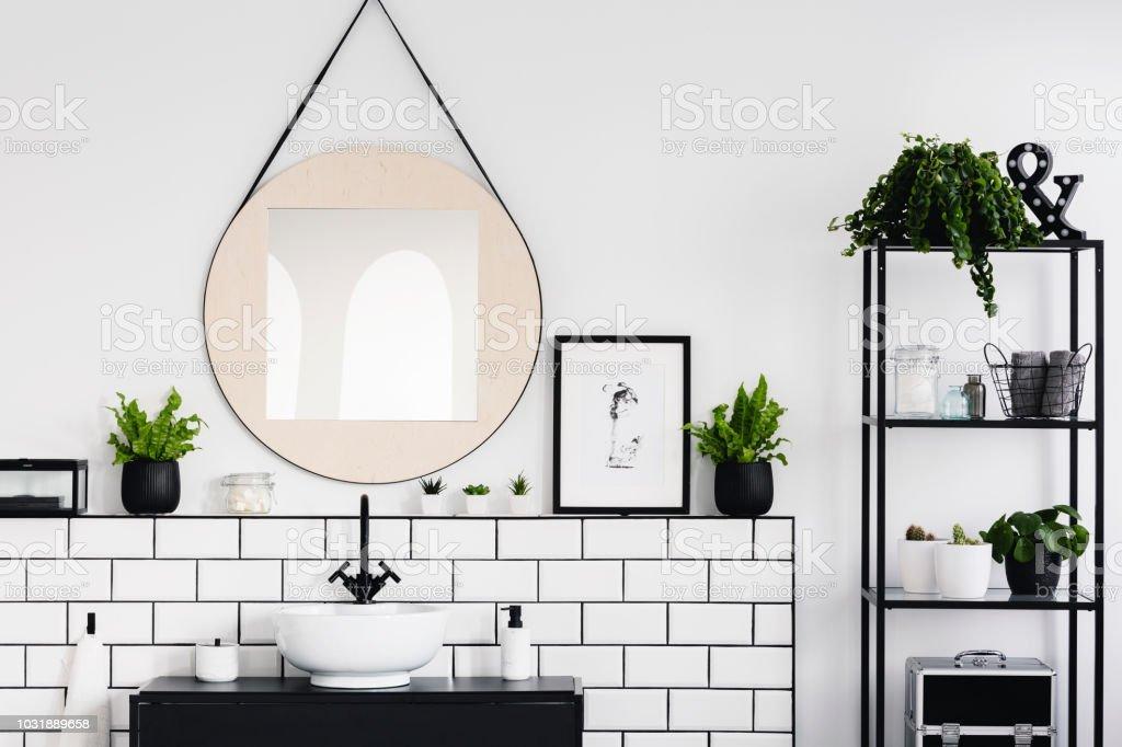 Runder Spiegel Und Poster Zwischen Pflanzen In Weiß Und Schwarz ...