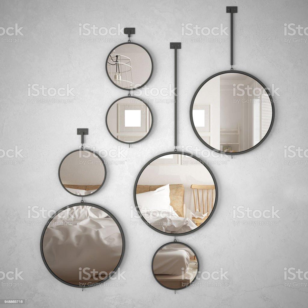 Runde Spiegel An Der Wand Reflektiert Interior Designszene Minimalistischen Skandinavischen Schlafzimmer Moderne Architektur Stockfoto Und Mehr Bilder Von Architektur Istock