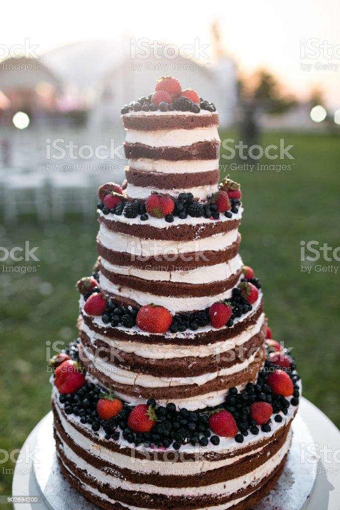 Runde Multi Tier Hochzeitstorte Mit Schwamm Sahne Marmelade Und