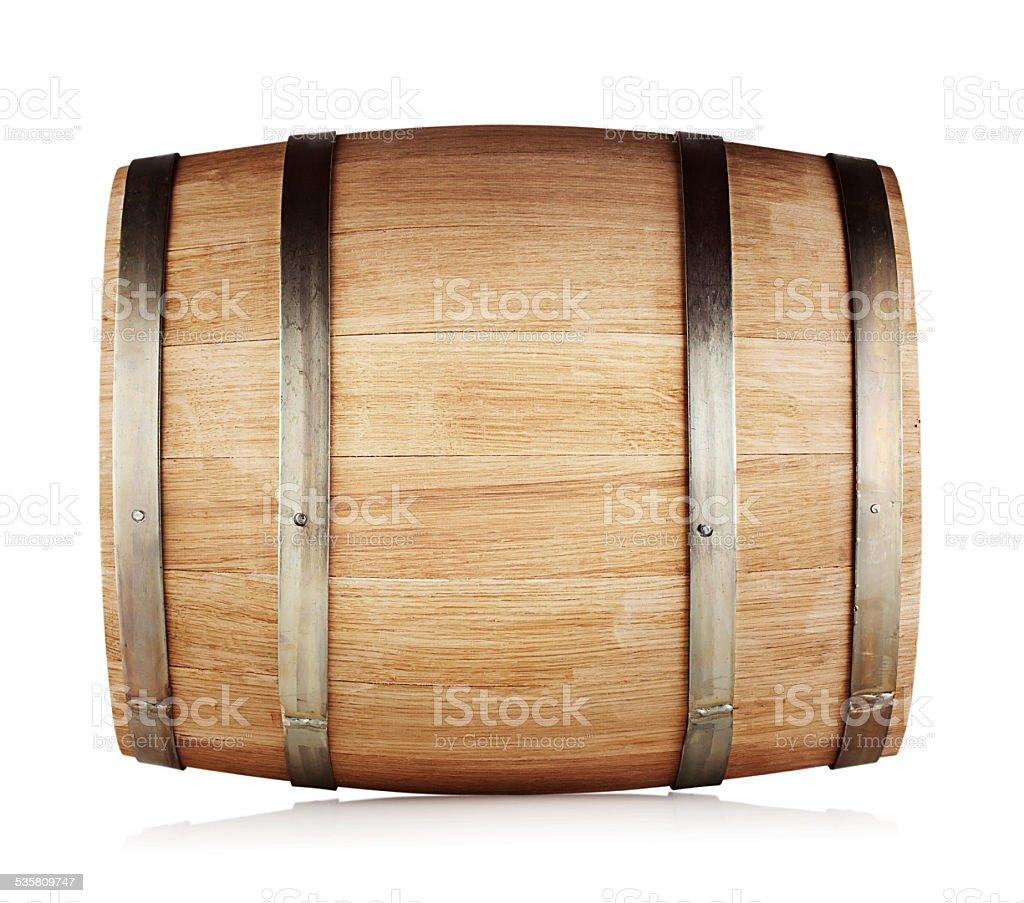Round oak barrel stock photo
