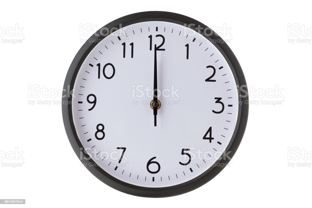 Round office wall clock on white, midnight or midday stock photo