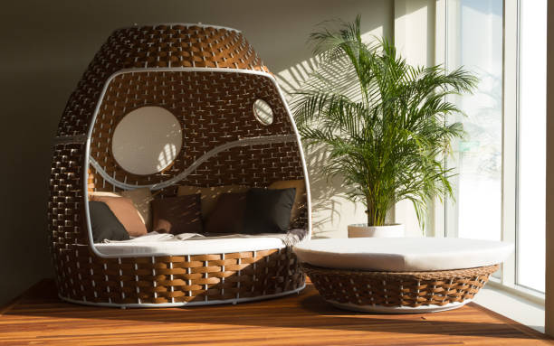 round outdoor patio daybed set round outdoor patio daybed set - rattan outdoor furniture chaise longue stock pictures, royalty-free photos & images