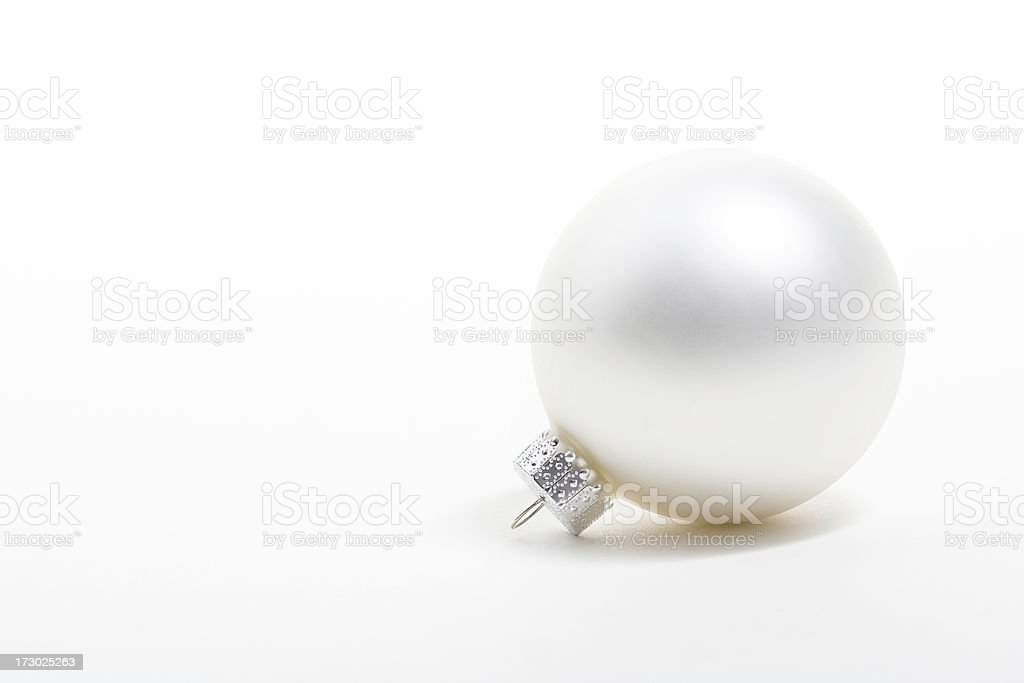 Round pearly white christmas ornament stock photo