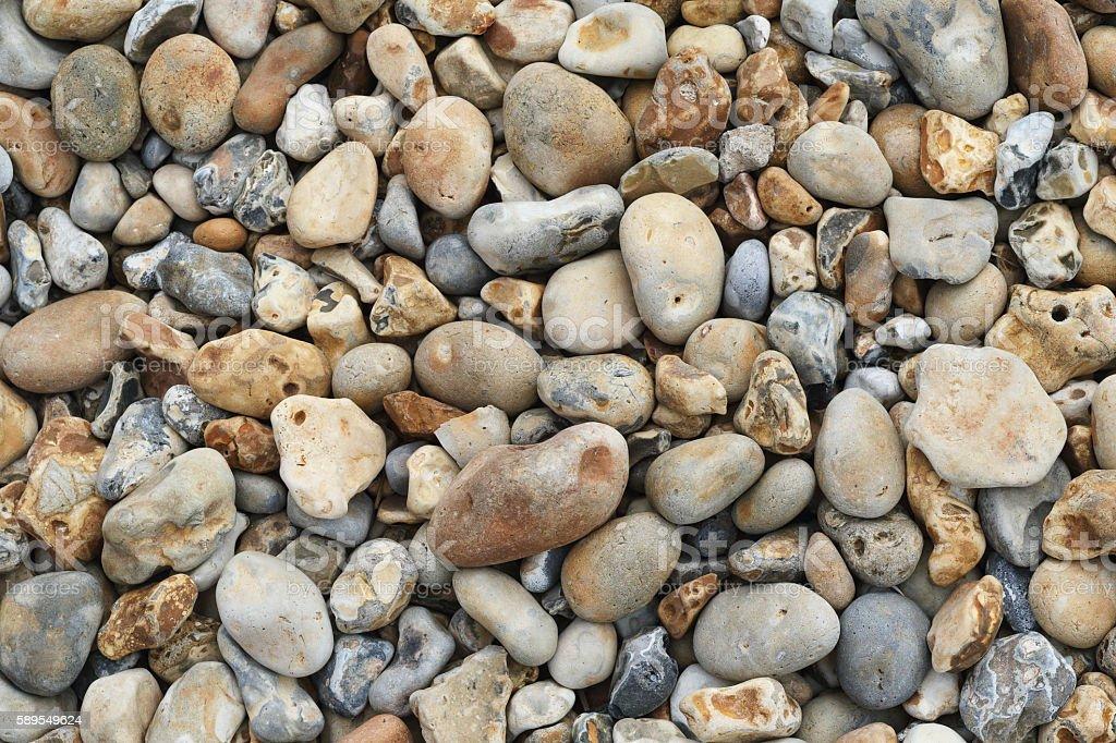 Round pebble background Hengistbury Head Dorset stock photo