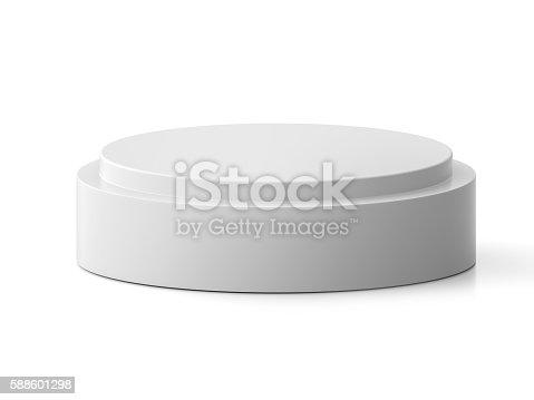 Round pedestal for display. Platform for design. Realistic 3D empty podium