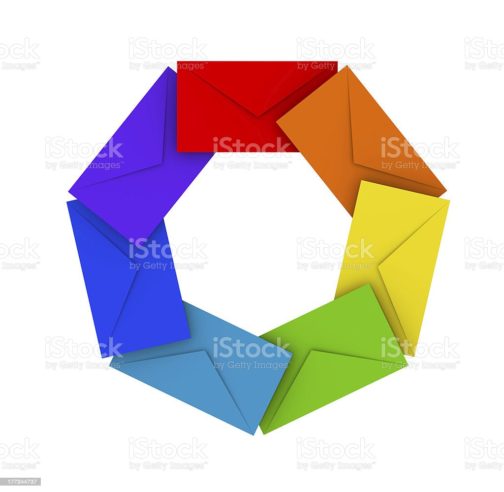 Round pile of colorful envelopes royalty-free stock photo