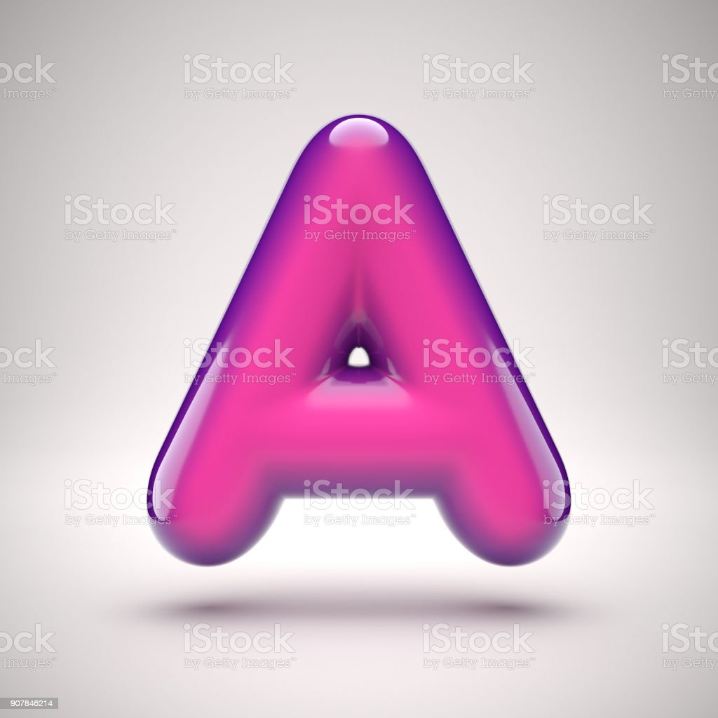 Round pink glossy font 3d rendering letter A stock photo