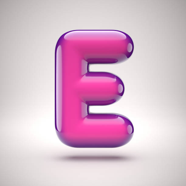 Round pink glossy font 3d rendering letter E stock photo