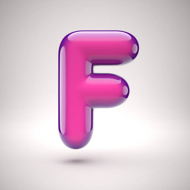 Round pink glossy font 3d rendering letter F stock photo