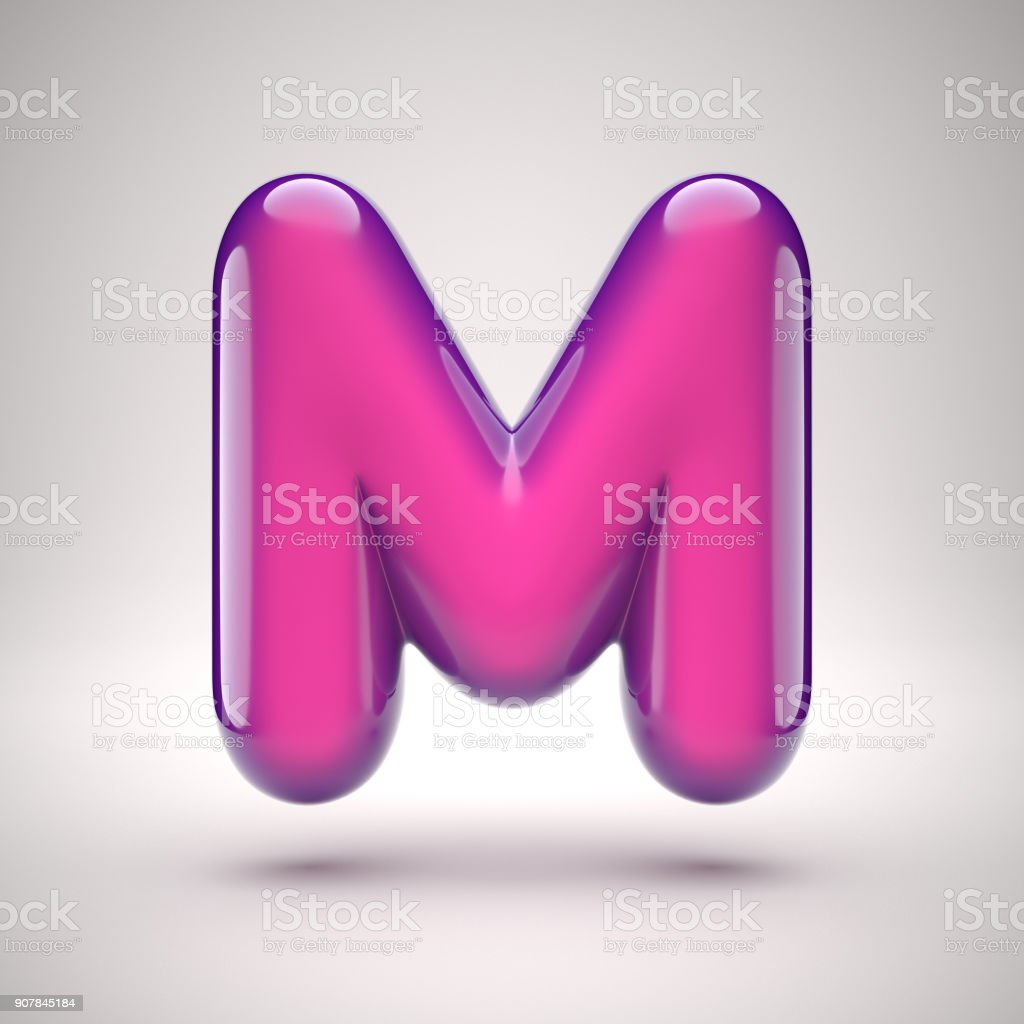 Round pink glossy font 3d rendering letter M stock photo