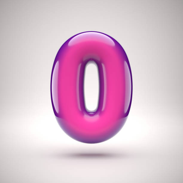 round pink glossy font 3d rendering number 0 - zero stock pictures, royalty-free photos & images