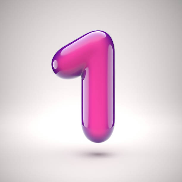 Round pink glossy font 3d rendering number 1 stock photo